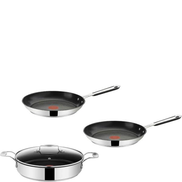 jamie oliver by tefal stainless steel 3 piece frying pan set 24cm 25cm 28cm iwoot. Black Bedroom Furniture Sets. Home Design Ideas