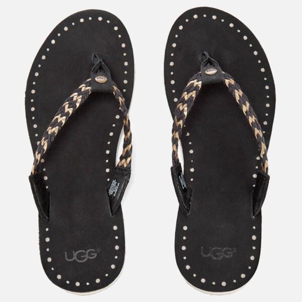 UGG Women's Navie II Leather Braided Flip Flops - Black