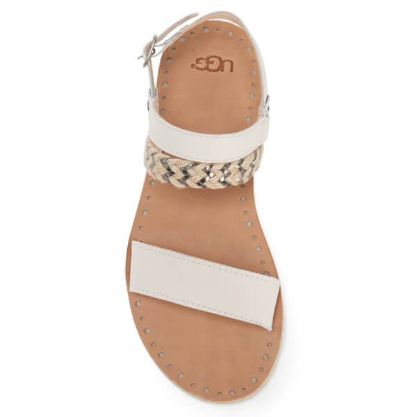cef947e2f357 UGG Women s Elin Leather Braided Double Strap Flat Sandals - Canvas  Image 3