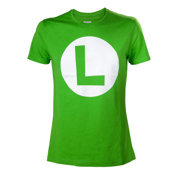Super Mario Luigi L Logo T-Shirt - Green