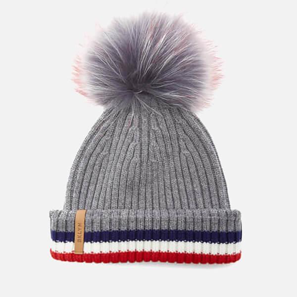 BKLYN Women s Merino Wool Hat with Grey Red Pom Pom - Grey Multi ... 519527cea27