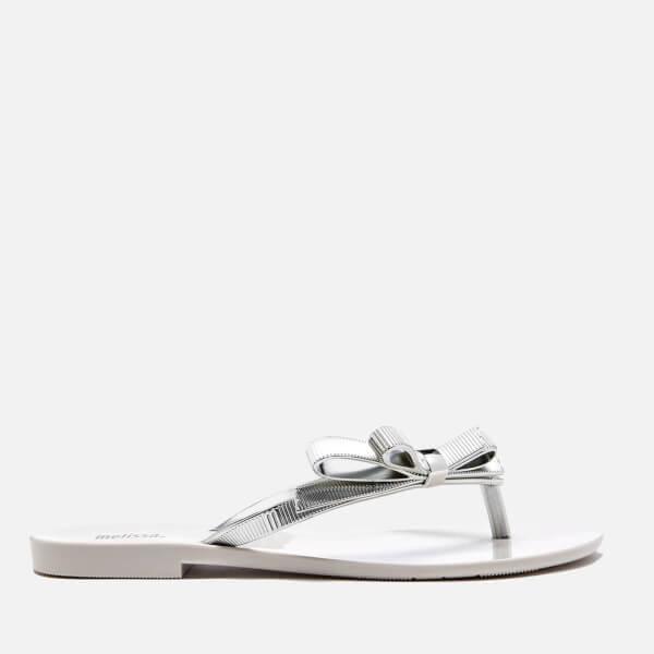 Melissa Women's Harmonic Chrome Flip Flops - White Silver