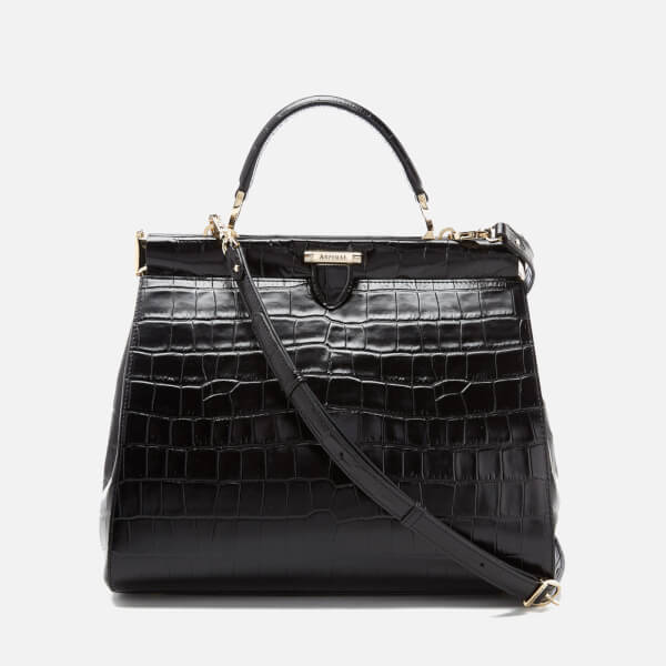 Aspinal of London Women's Large Frame Bag - Black Croc
