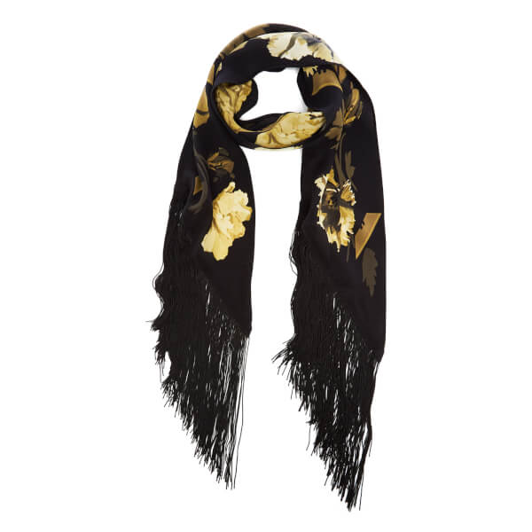 Rockins Women's Flora Classic Skinny Fringed Scarf - Gold
