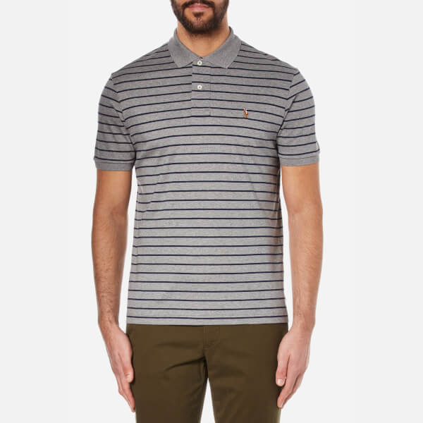 Polo Ralph Lauren Men's Stripe Polo Shirt - Winter Grey Heather/French Navy