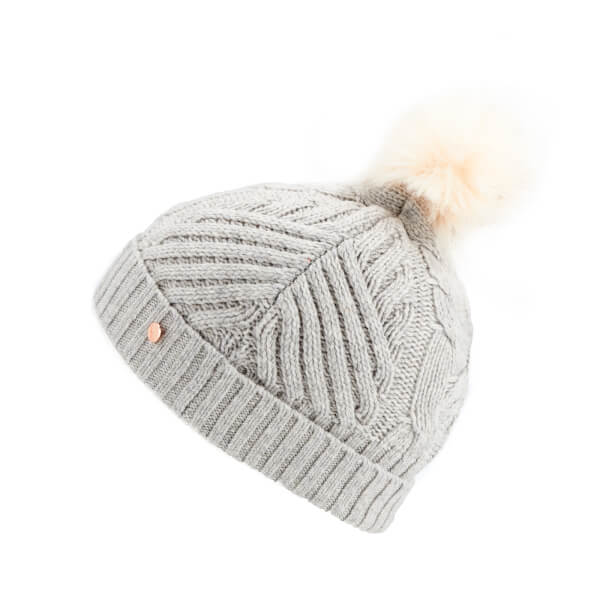 Ted Baker Women s Lisabet Cable Knitted Hat with Pom Pom - Grey  Image 2 757d9493a46
