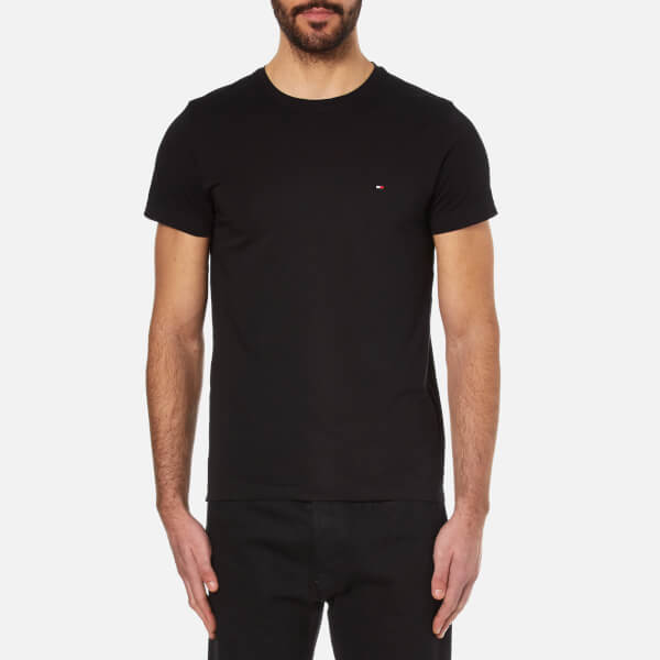 Tommy Hilfiger Men s New Stretch Crew Neck T-Shirt - Flag Black  Image 1 8f1f94e9d8eed