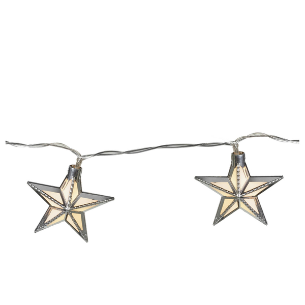 Parlane Star Glass Garland Lights - Silver (Set of 24)