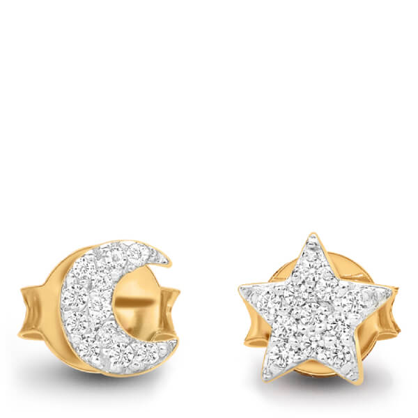 Missoma Women's Moon and Star Stud Earrings - Gold