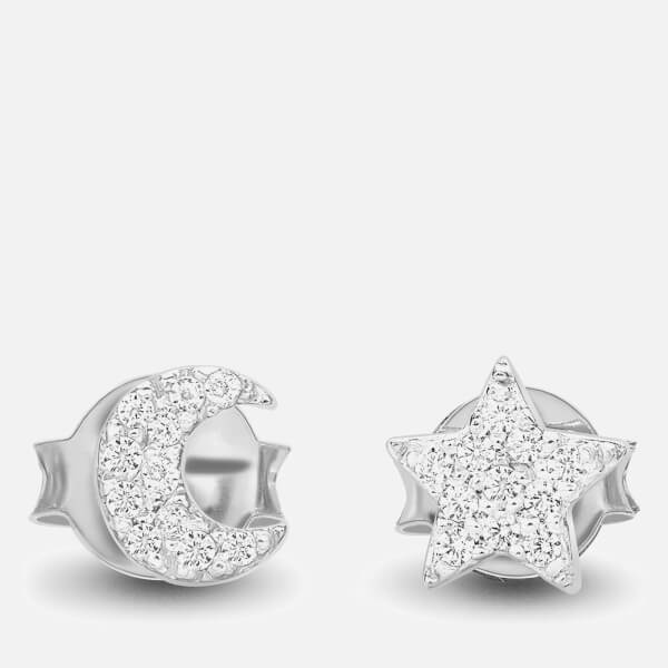 Missoma Women's Moon and Star Stud Earrings - Silver