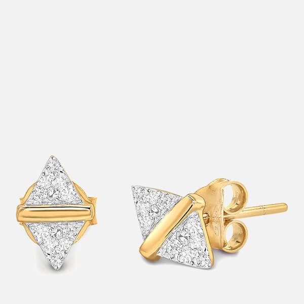Missoma Women's Nexus White Pavé Zircon Stud Earrings - Gold