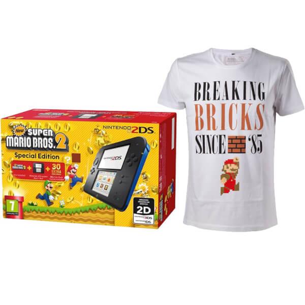 Nintendo 2DS Blue/Black + New Super Mario Bros 2 + Mario Breaking Bricks T-Shirt (L)