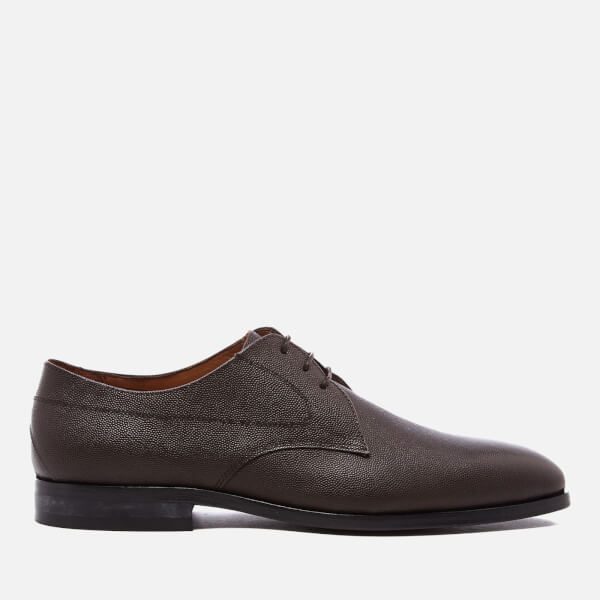PS by Paul Smith Men's Leo Leather Plain Derby Shoes - Dark Brown