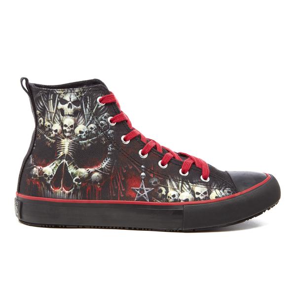 Spiral Men's Death Bones High Top Lace Up Sneakers - Black