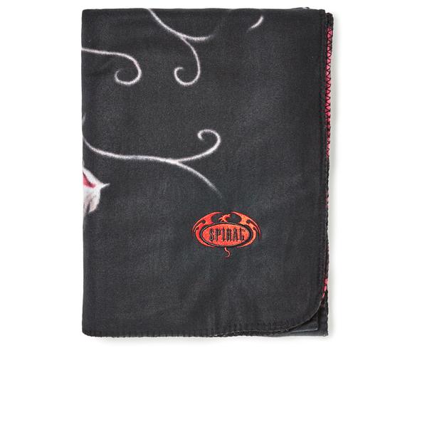 Spiral Blood Rose Fleece Blanket - Black