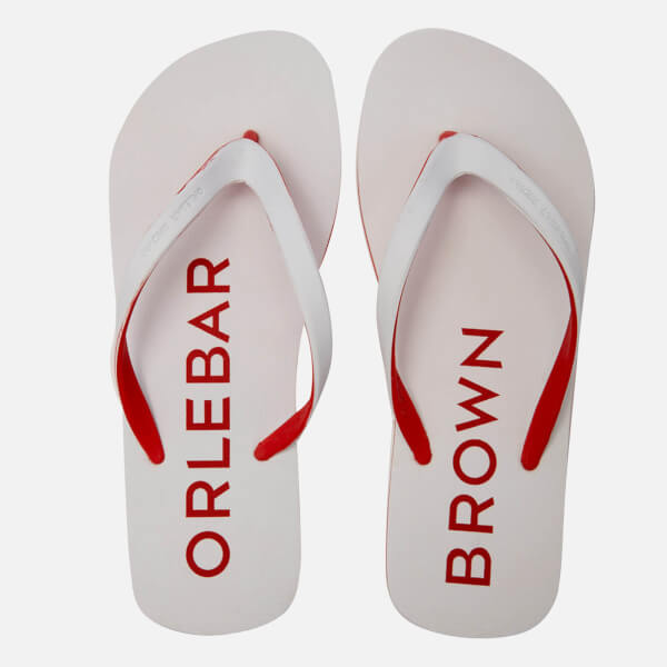 Orlebar Brown Men's Efren Flip Flops - White/Rescue Red