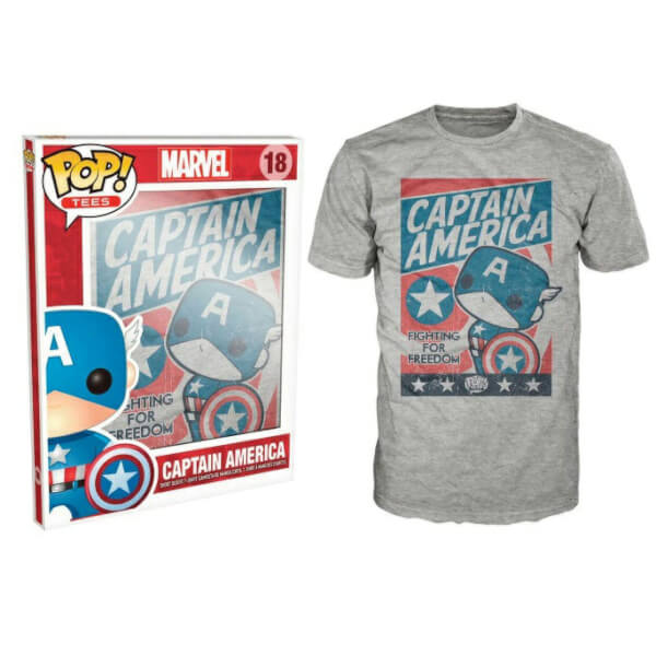 Funko M-Captain America Pop! Tee Fighting For Freedom Pop! Tees
