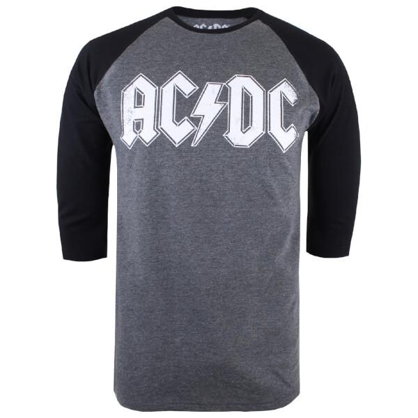 ACDC Men's Logo Raglan Logo 3/4 T-Shirt - Grey Marl/Black