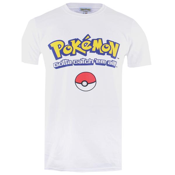 T-Shirt Homme Pokémon Logo Gotta Catch Em All - Blanc