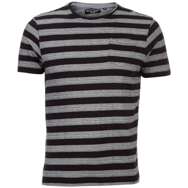 Brave Soul Men's Gravel Stripe T-Shirt - Jet Black/Ecru