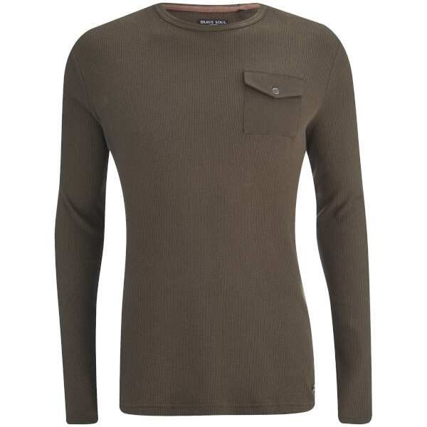 Brave Soul Men's Radar Long Sleeve Top - Dark Khaki