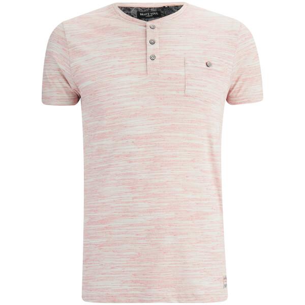 Brave Soul Men's Petrak Button Collar T-Shirt - Pink/White