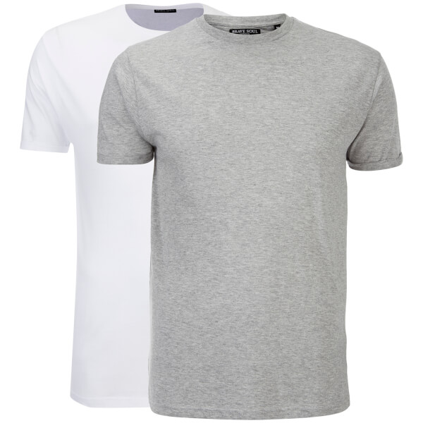 Brave Soul Men's 2 Pack Vardan T-Shirt - White/Light Grey Marl