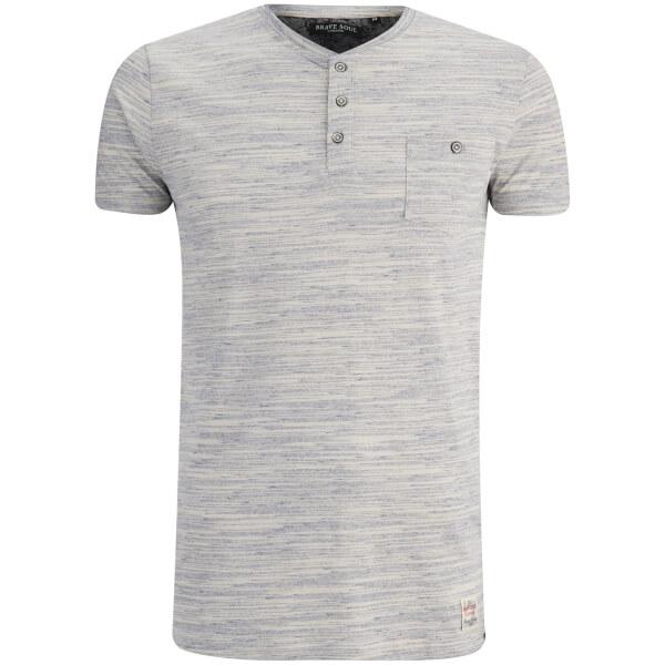 Brave Soul Men's Petrak Button Collar T-Shirt - Blue/White