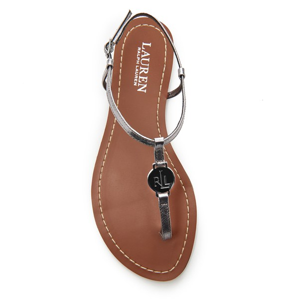 feaaa4b58 Lauren Ralph Lauren Women s Aimon T-Bar Croc Flat Sandals - New Silver   Image