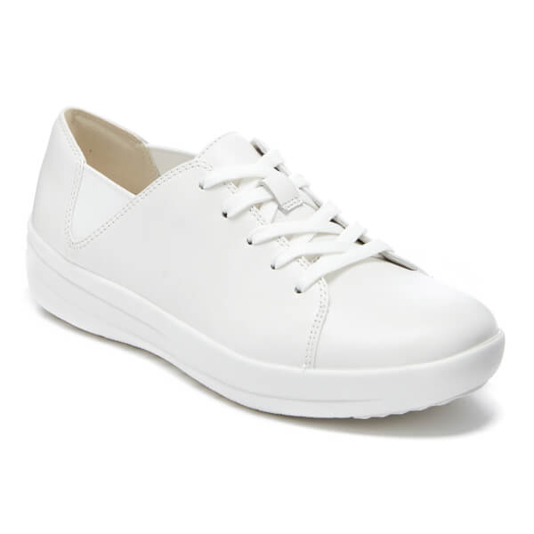 04503ca26f17e7 FitFlop Women s F-Sporty Leather Lace Up Trainers - Urban White  Image 2