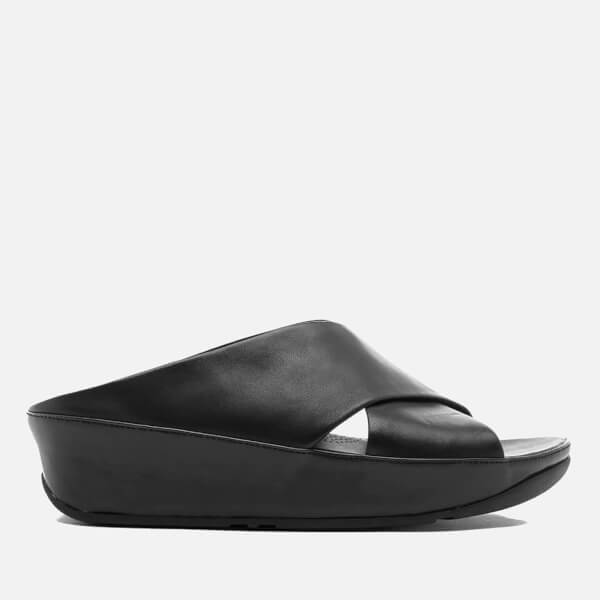 a3b946049689e1 FitFlop Women s Kys Leather Slide Sandals - All Black Womens ...