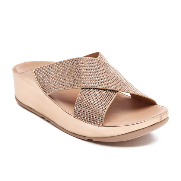 147352d3660b4 FitFlop Women s Crystall Slide Sandals - Rose Gold Womens ...