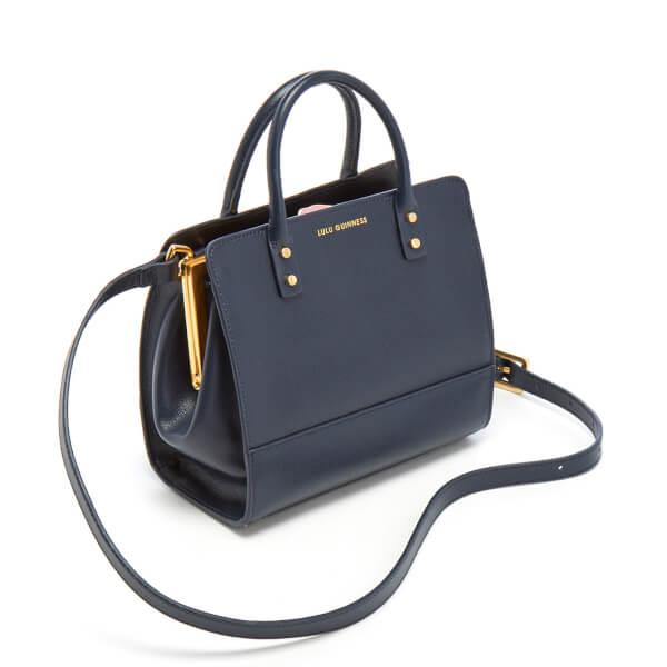 Lulu Guinness Women s Mini Daphne Textured Leather Square Cross Body Bag -  Navy  Image 4 7c1f145190