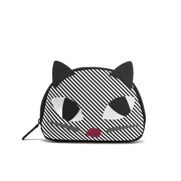Lulu Guinness Women's Stripe Kooky Cat Crescent Pouch - Black White