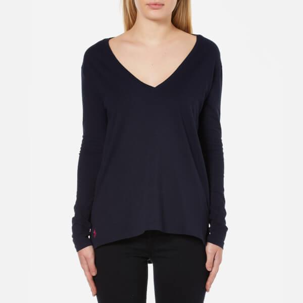 Polo Ralph Lauren Women's Long Sleeve V Neck T-Shirt - Hunter Navy