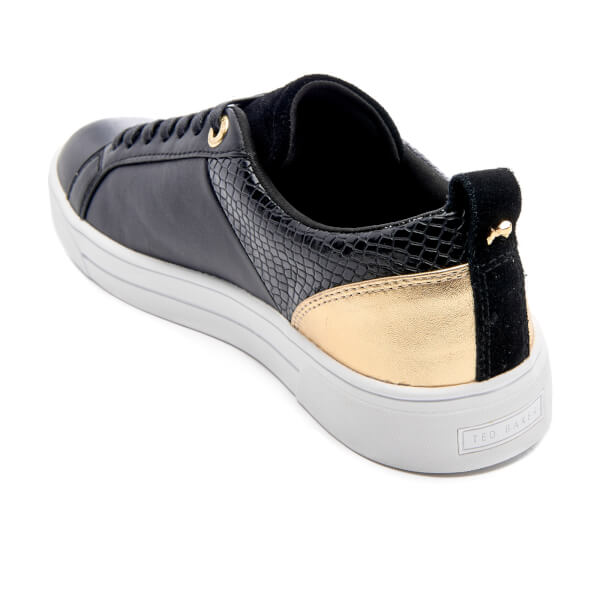 d1e1bf705ba944 Ted Baker Women s Kulei Leather Cupsole Trainers - Black Rose Gold  Image 4