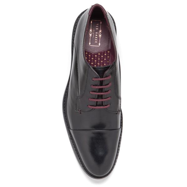 4d51525ee1b44 Ted Baker Men s Aokii Burnished Leather Toe Cap Derby Shoes - Black  Image 3