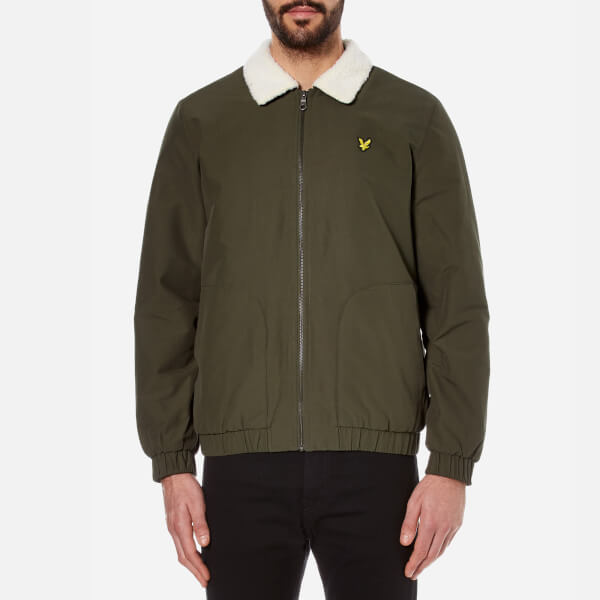 Lyle & Scott Men's Shearling Lined Bomber Jacket - Dark Sage - Xxl - Green