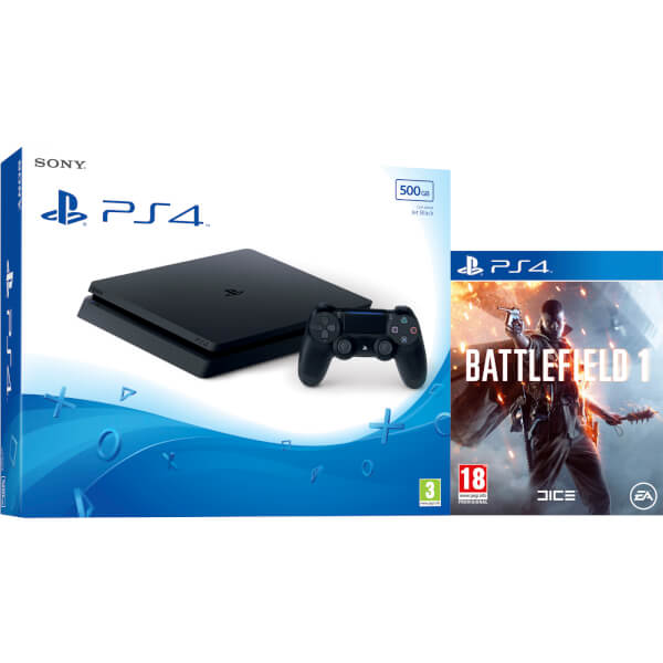 playstation 4 slim 500gb console with battlefield 1 games. Black Bedroom Furniture Sets. Home Design Ideas
