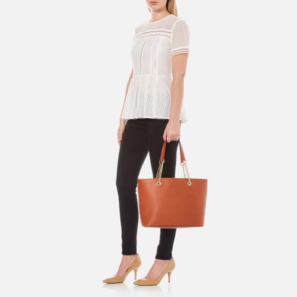 242657bcba MICHAEL MICHAEL KORS Women s Jet Set Travel Chain Top Zip Tote Bag - Orange   Image