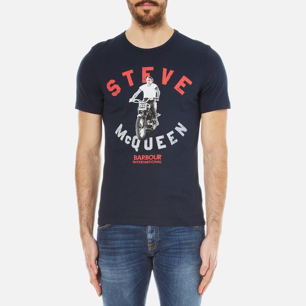 barbour x steve mcqueen men 39 s leap t shirt navy free uk delivery over 50. Black Bedroom Furniture Sets. Home Design Ideas
