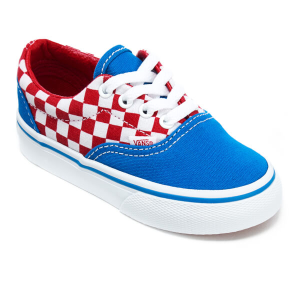 582d200a458d13 Vans Toddlers  Era Checkerboard Trainers - Racing Red Imperial Blue  Image 2