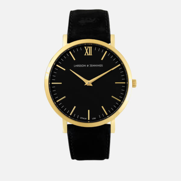 Larsson & Jennings Women's Lugano 40mm Leather Watch   Gold/Black/Black by My Bag