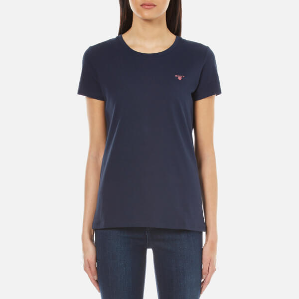 Gant women 39 s cotton elastane crew neck t shirt marine for Cotton and elastane t shirts