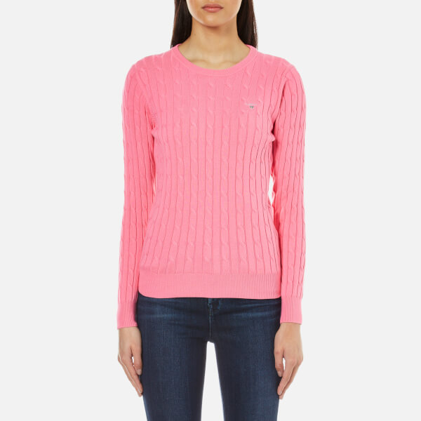 GANT Women s Stretch Cotton Cable Crew Jumper - Lipstick Pink  Image 1 39b012f5b5f3
