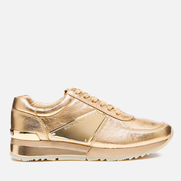 MICHAEL MICHAEL KORS Women's Allie Plate Wrap Leather Trainers - Pale Gold