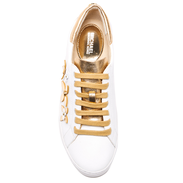 279992dd1fd7e MICHAEL MICHAEL KORS Women s Lola Flower Leather Trainers - Optic White Pale  Gold  Image