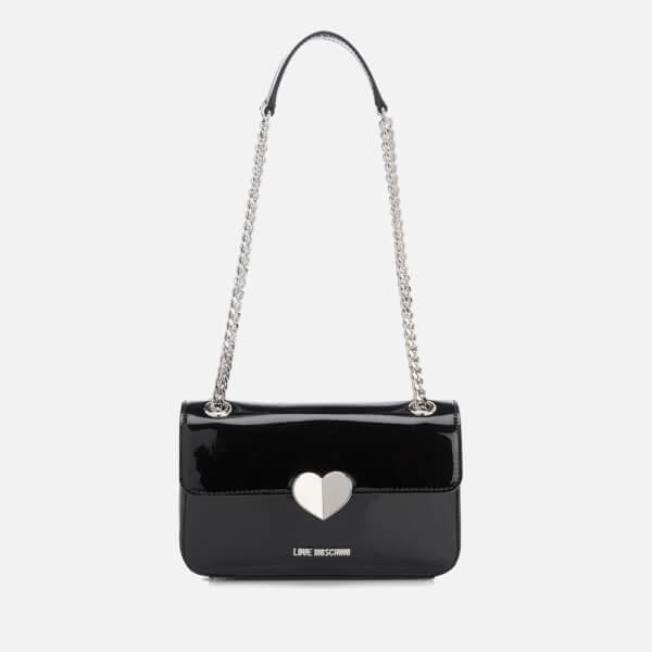 Love Moschino Patent Faux Logo Satchel Bag UWiXbsnc