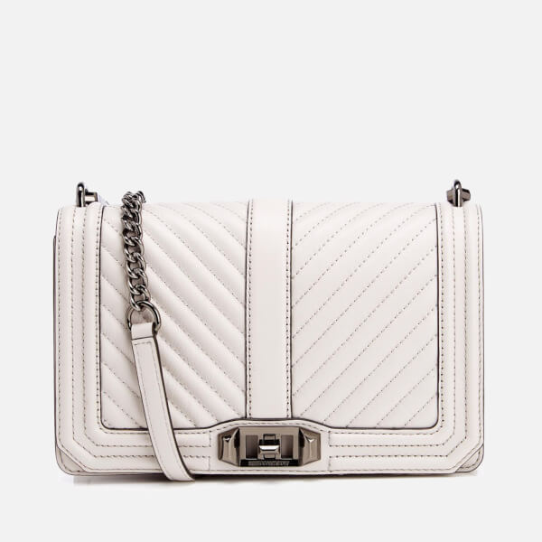 75695cea0aeb Rebecca Minkoff Women s Chevron Quilted Love Cross Body Bag - Putty  Image 1