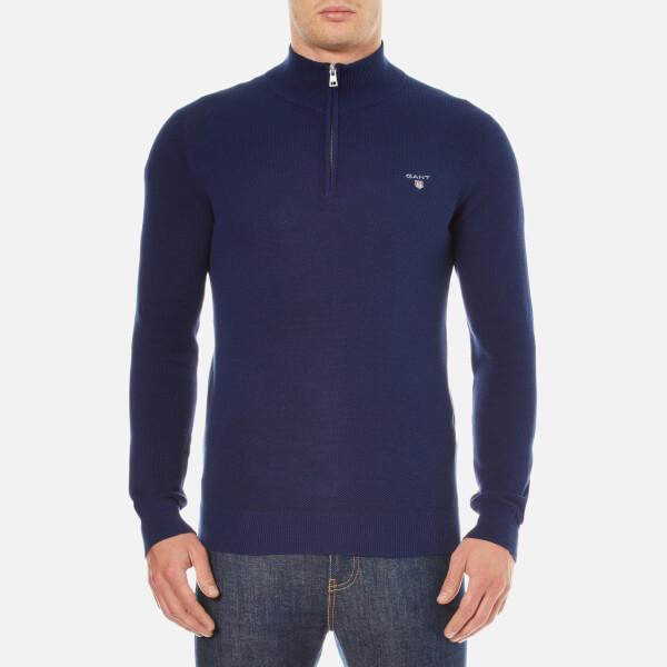 GANT Men's Cotton Pique Half Zip Sweatshirt - Persian Blue Mens ...